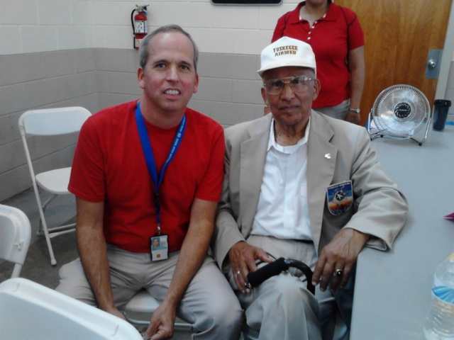 With Joseph Burrucker, Tuskegee Airman