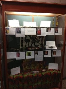 Black Student Caucus members filled the display case in the School lobby with artifacts and mementos for Black History Month
