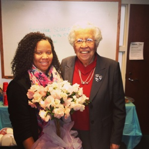 Presenting Mrs. Hortense McClinton with flowers during the Appreciation Luncheon