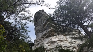 One of the hanging rocks at HRSP. Option to climb up the rock or trail.